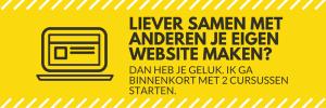 Header afbeelding met tekst Samen met anderen je eigen website maken